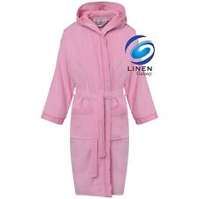 Kids Boys Girls 100% Pure Cotton Velour Terry Towelling Bath Robe Hooded