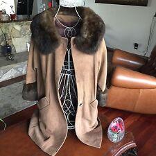 Dark Tan Suede And Brown Fox Coat Size Medium/large