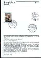 ITALIA 2009 QUOTIDIANO LA NAZIONE BOLLETTINO COMPLETO DI FRANCOBOLLI ANNULLO FDC