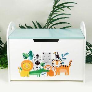 Jungle Baby Wooden Toy Box Chest Storage Bench Organiser