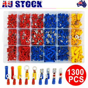 1300X Electrical Wire Connectors Insulated Crimp Terminals Kit Marine Automotive