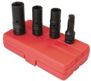 Sunex 2724 4-piece 1/2 In. Drive Deep Thin Wall Flip Impact Socket Set