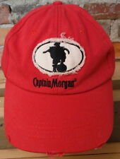 Vintage Captain Morgan Hat Rum Pirate Adjustable Strap Frayed Worn Red Cotton