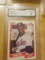 1990 FLEER SAMMY SOSA ROOKIE CARD RC CHICAGO CUBS #548 GRADED 8 GMA
