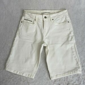 Calvin Klein Womens White Stretch Flat Front Casual Bermuda City Shorts Size 4