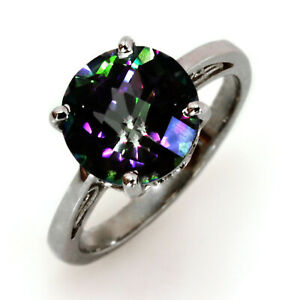 4 ct Natural Round Mystic Topaz Solid 14k White Gold Solitaire Engagement Ring