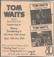 ORIGINAL Village Voice Ad TOM WAITS Reno Sweeney Live NYC