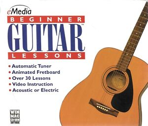 Beginner Guitar Lessons PC Mac CD ROM Acoustic Electric 30+ Lessons