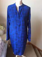 JAEGER Cobalt Royal Blue Navy 100% Silk Long Sleeve Tunic Dress Pockets Size 14