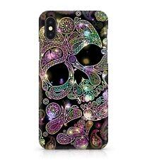 Colourful Rainbow Skull Pattern Creative Spiralling Flower Art Phone Case Cover