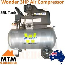 WONDER 3HP 240v Air Compressor Direct Drive 198L/min 50L Huge Capacity Tank