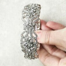 UK Crystal Metal Bangle Stretch Bracelet Vintage 1920's Style Wedding Prom