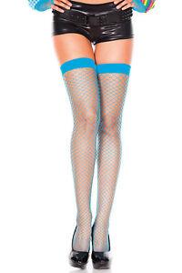 Turquoise Mini Net Spandex Thigh High Stocking O/S New