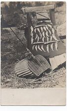 1910 Rppc Postcard of Fishing Pole, Creel and Days Catch of 30 Fish