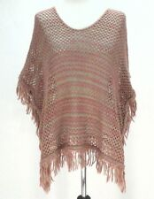 EUC $59 AMERICAN RAG PONCHO Womens SHIRT CAPE Pink/Green Sweater Opens Knit OS *