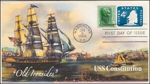 AO-U549-1,1965, Old Ironsides, First Day Cover, Add-on Cachet, USS Constitution,