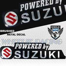 "METAL 5.25"" 3D SUZUKI BRUSHED ALUMINUM FENDER EMBLEM STICKER LOGO+LETTER DECAL"