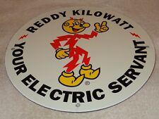 "VINTAGE ""REDDY KILOWATT ELECTRIC SERVANT"" 11 3/4"" PORCELAIN METAL GASOLINE SIGN!"