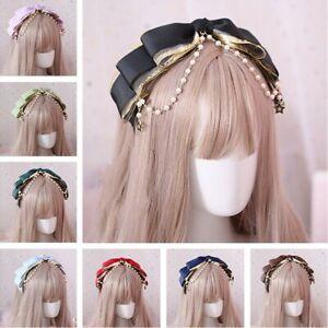 Women Girl Lolita Headband Bead Bowknot Headwear Gothic Headdress Princess Cute