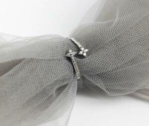 T04 edler Ring Blume Zirkonia weiß 925 Sterling Silber größenverstellbar