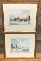 Beautiful Pair Of Original Watercolours By Sydney Vale, Scenes Of Thames, London