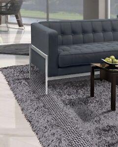 """5' x 7'6"""" Handmade Modern Shag Area Rug Carpet Gray Contemporary Gray"""