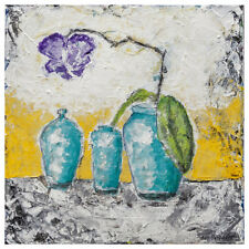 Turquoise Vases With Purple Orchid 12x12 Fine Art Print of Original Painting