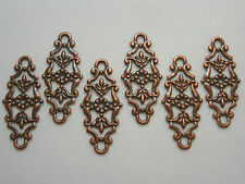 Antiqued Copper Filigree Drops Connectors Earring Findings - 6