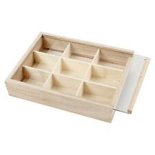 Setzkasten Sortierkasten mit Glas - Schiebedeckel und 9 Fächern aus Holz