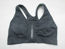 Unbranded Size L Black Womens Wireless Front Zip Workout Active Sports Bra 2A