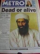 WANTED DEAD OR ALIVE OSAMA BIN LADEN TALIBAN SEPTEMBER 18  2001 METRO NEWSPAPER