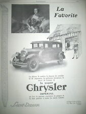 PUBLICITE DE PRESSE CHRYSLER IMPERIAL AUTOMOBILE LA FAVORITE FRENCH AD 1926