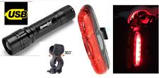 Zoom potenti anteriore e posteriore 5 Luci LED Set-Rosso Brillante Luce Torcia Bici in Lega