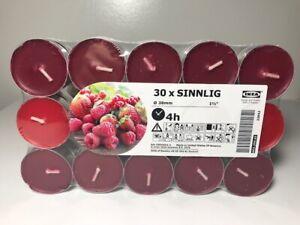 30 IKEA Scented Tealight Candles SINNLIG tea light cup - raspberry/ strawberry