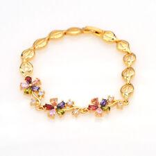 Women 18K Gold Plated Cute Flowers Multi-color CZ Zirconia Bracelet Jewelry