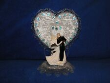 New Elegant First Dance Bride and Groom Wedding Cake Top with Turquoise Stones