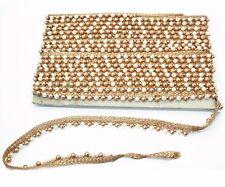 Vestido De Novia 2 M Oro Antiguo Ribete De Encaje Cinta de Costura Con Cuentas De Perla Adorno