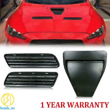 For Mitsubishi Lancer EVO10 X Bonnet Scoop Hood Air Vent Intake Matte Black 3PCS