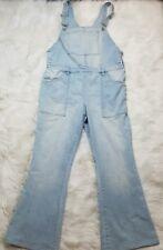 New York & Company Women's Light Wash Jean Denim Overalls Sz L Flare Leg Pocket