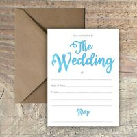 WEDDING INVITATIONS BLANK SIMPLE TURQUOISE WATERCOLOUR PACKS OF 10