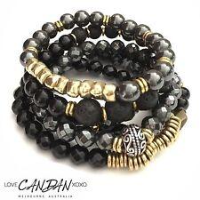 Love Candan Resilience Bracelet Set Of 6 Onyx Hematite Lava Gemstones Bohemian