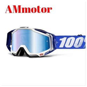 Maschera 100 % RaceCraft Cobalt Blue Moto cross Doppia Lente Occhiali