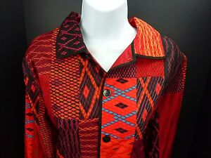 Silk Jacket Chico's Size 1 (Small/8) Red Black
