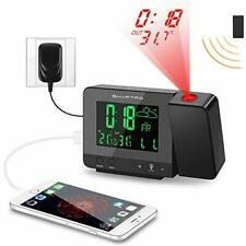 Digital Projection Alarm Clock with Weather Station Indoor Outdoor Thermometer
