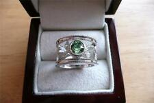MADE WITH SWAROVSKI ROUND GREEN CRYSTAL 925 STERLING SILVER RING SZ P 8