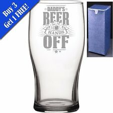 Novelty Pint Beer Cider Glass - Daddys Beer Hands Off - Perfect Gift for any Dad