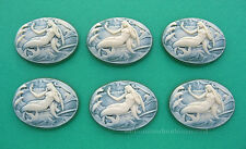 6 Fantasy IVORY color MERMAID on Green 25mm x 18mm Costume Jewelry Craft CAMEOS