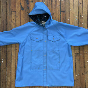 Vintage Blue LOT One Inc Of Boston Plaid Lined Nautical Women's Slicker Raincoat
