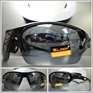 Men's WRAP AROUND SPORTY CYCLING FISHING HUNTING CASUAL SUN GLASSES Black Frame