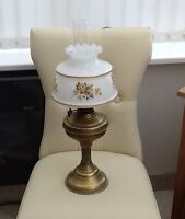 Vintage Brass Column Oil Lamp with Shade & Glass Funnel